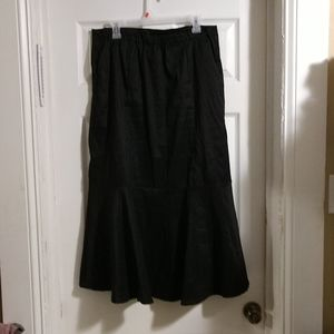 Black Straight w/ Umbrella Flow Below Knee Skirt
